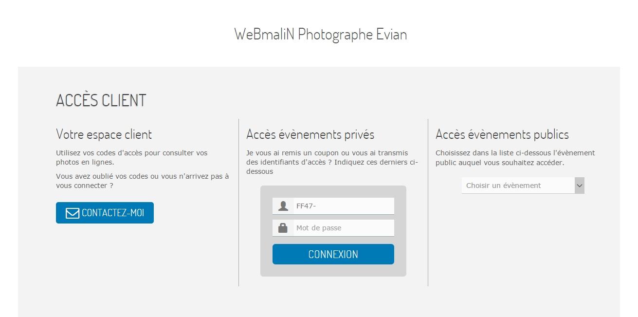 Acces Clients - Album Privés & Publics et Tirage en Ligne