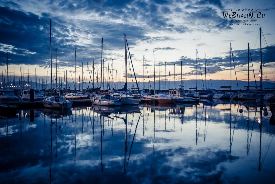 Portfolio - Paysage - Port Evian les Bains - Bateaux sur fond de Coucher de Soleil