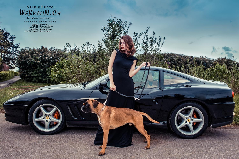 Portfolio - Photo Ferrari Dog - Geneve Fashion - Modele Christelle